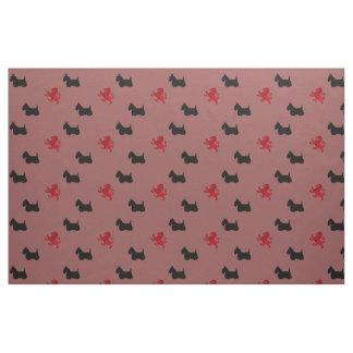 Tissu Silhouette noire de Terrier d'écossais/lion