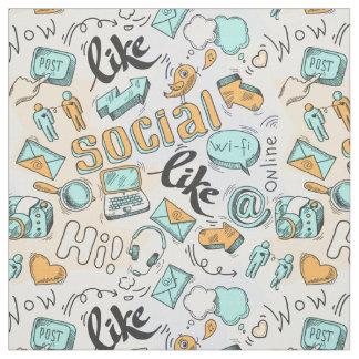 Tissu social frais de motif de médias