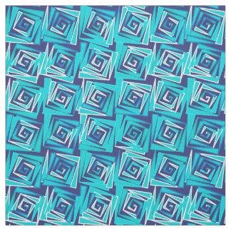 Tissu Spirales carrées modernes, marine et Aqua de la