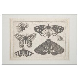 Tissu Tapisserie vintage d'insecte d'abeille de papillon