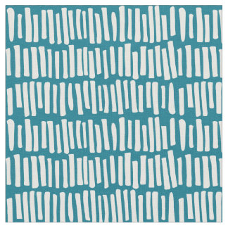 Tissu Teal moderne et ligne blanche motif