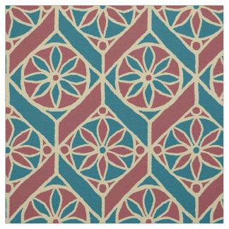 Tissu Teal, rouge foncé, motif floral ethnique beige