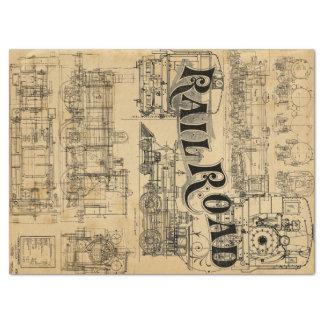 Tissu technique de dessins de train papier mousseline