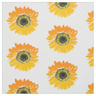 Tissu Tournesols oranges floraux d'aquarelle