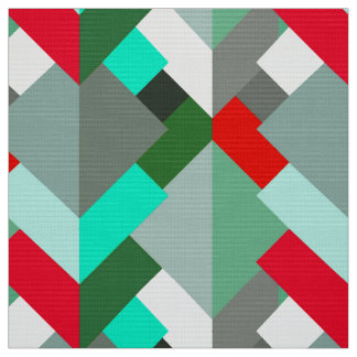 Tissu Triangles, turquoise, rouge, et gris abstraits