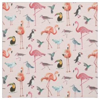 Tissu tropical des oiseaux | de flamant
