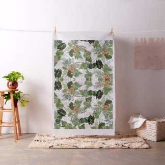 Tissu tropical d'îles de fleurs de feuille de