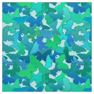 Tissu Troupeau de bleu de papillons, de turquoise,