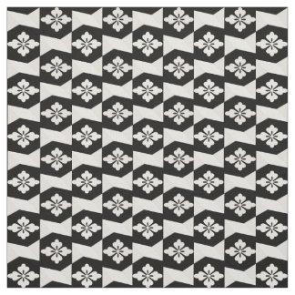 Tissu Tuiles blanches noires