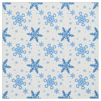Tissu Turquoise de flocons de neige sur le blanc