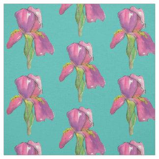Tissu Turquoise rose pourpre d'iris