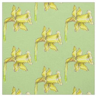 Tissu Vert jaune de ressort de jonquille