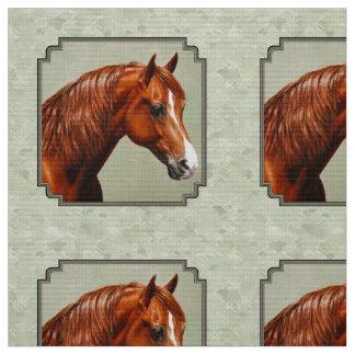 Tissu Vert sauge de cheval de Morgan de châtaigne