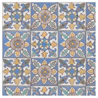 Tissu Vieux motif de tuiles de mur de majolique peint à