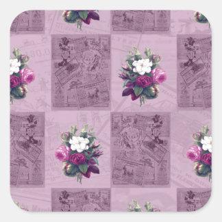 Tissu vintage sticker carré