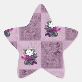 Tissu vintage sticker étoile