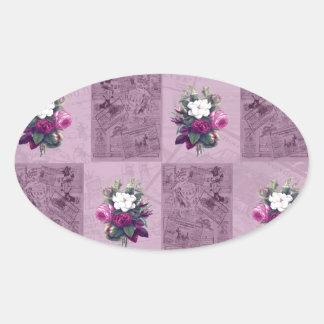 Tissu vintage sticker ovale