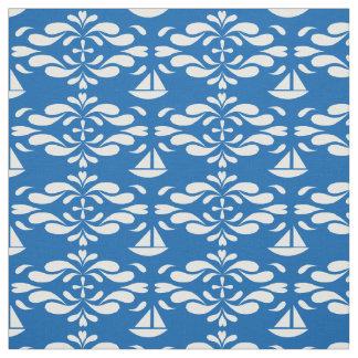 Tissu Voiliers stylisés sur les mers de tourbillonnement