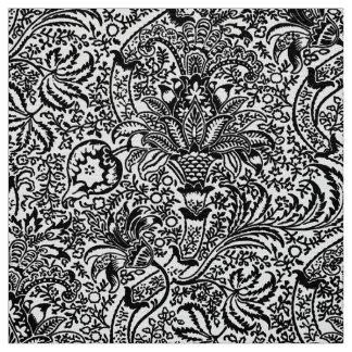 Tissu William Morris indien, blanc et noir