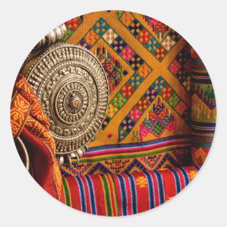 Tissus, Bhutan Sticker Rond