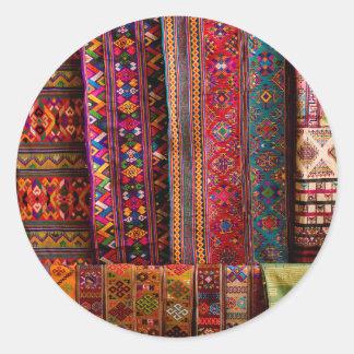 Tissus du Bhutan à vendre Sticker Rond