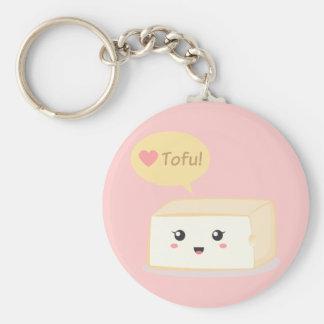 Tofu de Kawaii demandant à des personnes d'aimer l Porte-clé Rond