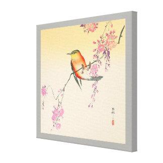 Toile 桜に鳥, oiseau de 小原古邨 et fleurs de cerisier, Ohara