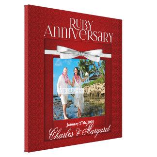 Toile 16x16 coutume de photo d'anniversaire du rubis