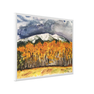 Toile 24x18 d'impression d'aquarelle de montagnes