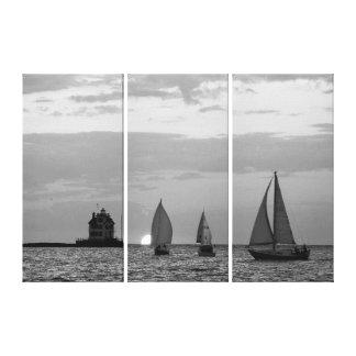 Toile 3 bateaux au coucher du soleil Black&White ont