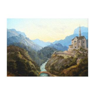 Toile Abbaye de rivière de paysage de montagne de Karl