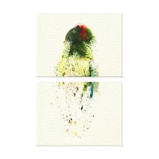 Toile Abrégé sur vert perroquet d'ara peignant l'oiseau