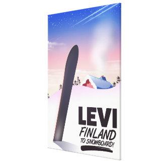 Toile Affiche de voyage de snowboarding de Lévi Finlande