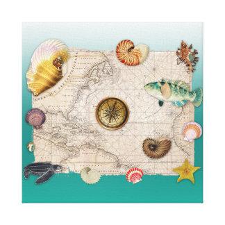Toile Aigue-marine marine de collage
