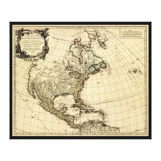 Toile Amérique Septentrionale, carte de l'Amérique du