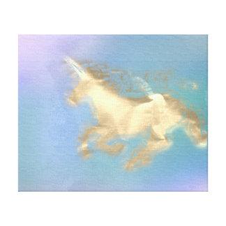 Toile Améthyste courante de bleu de sépia d'or de cheval