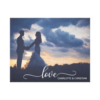 Toile AMOUR de souvenir de PHOTO de mariage + Noms