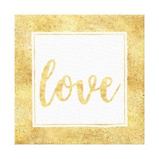 Toile Amour étincelant blanc d'or