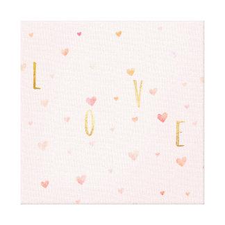 Toile Amour rose d'or de coeurs d'aquarelle