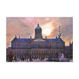 Toile Amsterdam. Coucher du soleil au-dessus du palais