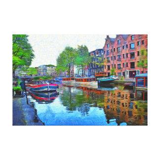Toile Amsterdam. Un port tranquille