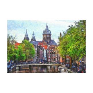 Toile Amsterdam. Vue d'église de saint Nicholas