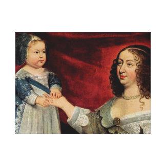 Toile Anne d'Autriche et Louis XIV 60.96x45.72cm, 3.81cm