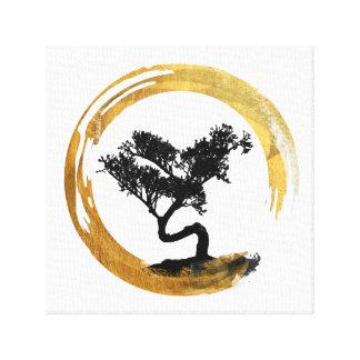 Toile Arbre de bonsaïs. Cercle d'Enso de zen. Art