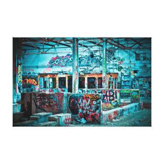 Toile Art bleu de construction abandonné de graffiti de