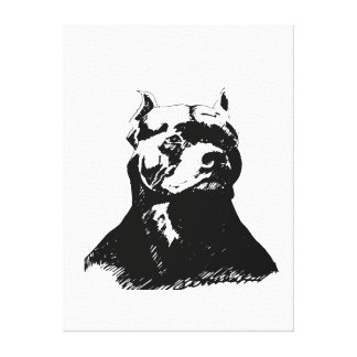 TOILE ART D'ANIMAL FAMILIER - PITBULL FIER DE PORTRAIT