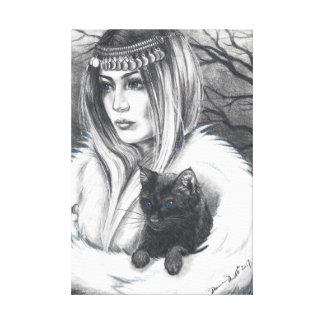 Toile Art de création de chat d'art de sorcière de