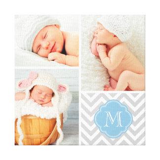 Toile Art de crèche de collage de photo de bébé de monog