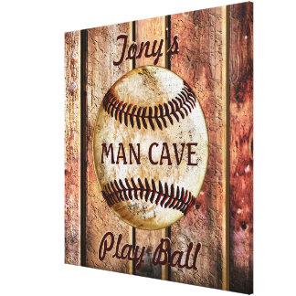 Toile Art de mur de base-ball personnalisé par caverne