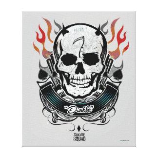 Toile Art de tatouage de crâne et de flammes du peloton